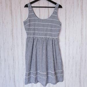 Old Navy Seersucker Aline Blue White Stripe Dress